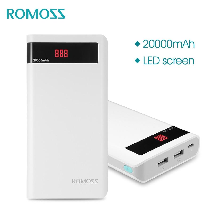 ROMOSS Sens 6 P 20000 mAh Power Bank Portable Batterie Externe avec Affichage LED Dual USB Chargeur Rapide pour iPhoneX Samsung S8 iosx