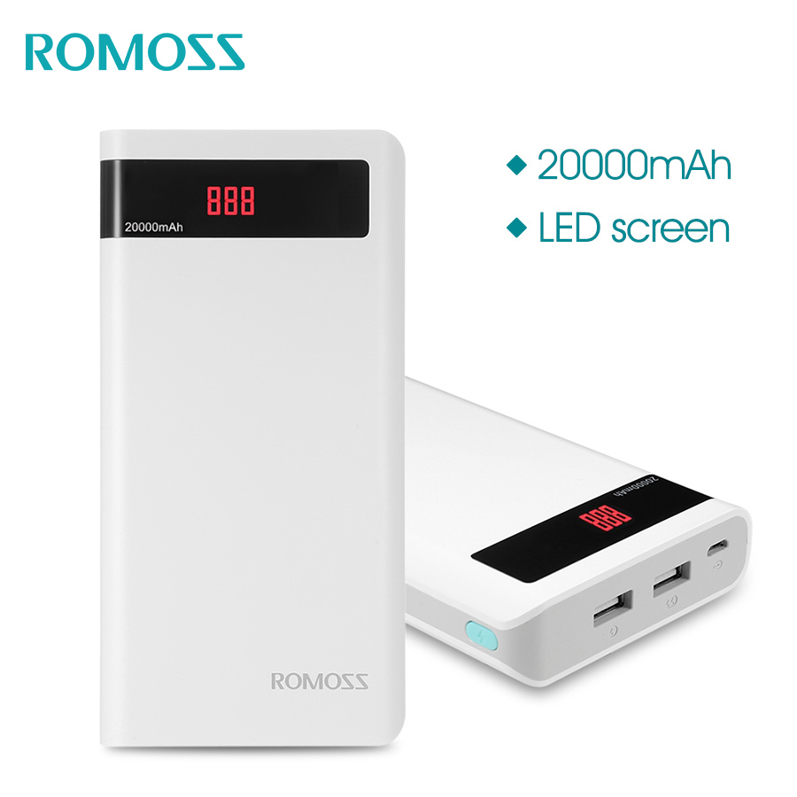 ROMOSS Sense 6P 20000mAh Power Bank Portable External Battery with LED Display Dual USB Fast Charger for iphone7 iphone7plus