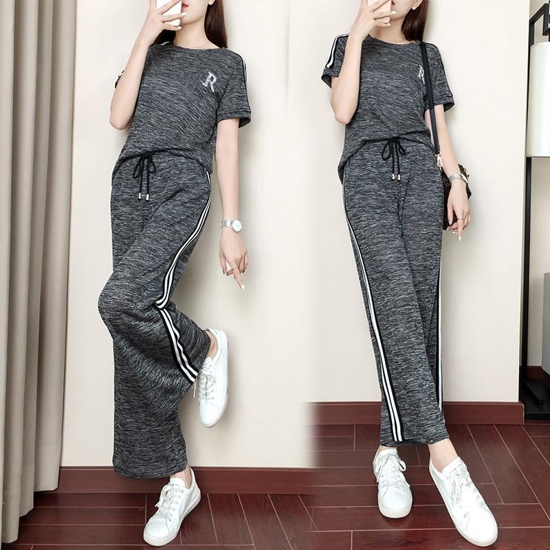 7e5c3989b3 2 piezas de las mujeres traje de chándal ropa deportiva fitness co-ord plus  tamaño grande L-3XL 4XL 5XL striped Crop top y pantalones trajes