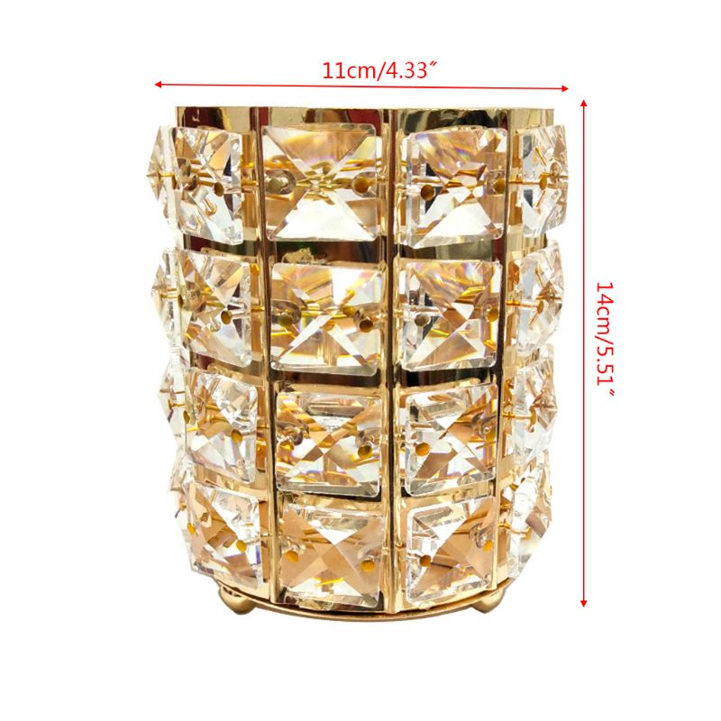 Gorgeous Artificial Crystal Metal Pencil Pen Holder Makeup Brush Storage Organizer Stationery Container Desk Decor in Pen Holders from Office School Supplies