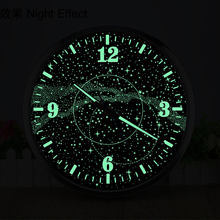 14 Inches Galaxy Luminous Wall Clock Living Room Bar Cafe Personality Loft Industrial Wind Large Decorative  Retro Watch
