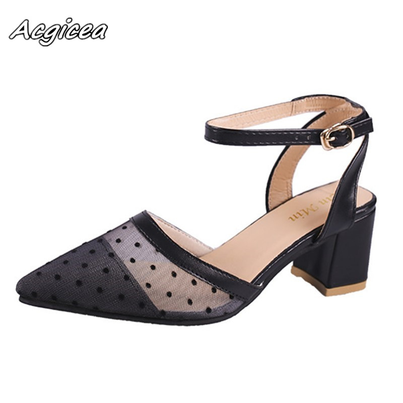 2018 spring new Female coarse sandals high-heeled shallow mouth pointed toe Mesh shoes work shoes women sexy high heels f171 pointed shallow mouth hollow buckle high heels women s shoes 2018 new gradient glitter crystal shoes women s shoes
