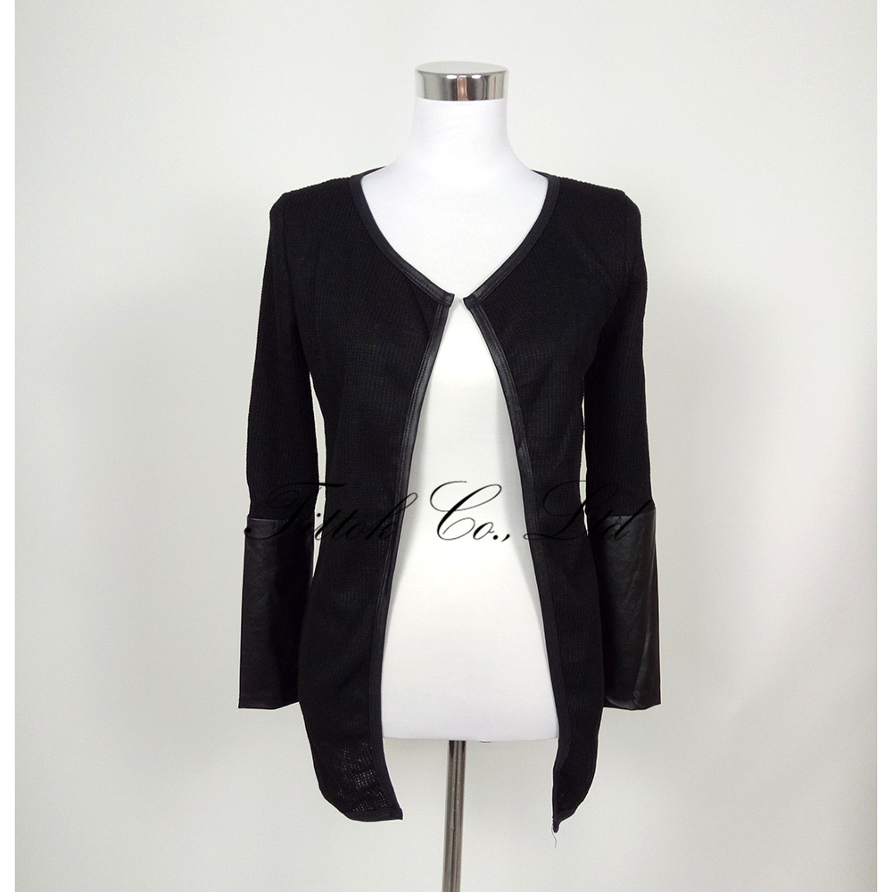2017 summer fashion long sleeve leather female blouses sweater ...