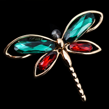 OBN Fashion Vintage Gold Large Dragonfly Brooches Rhinestone Jewelry For Women