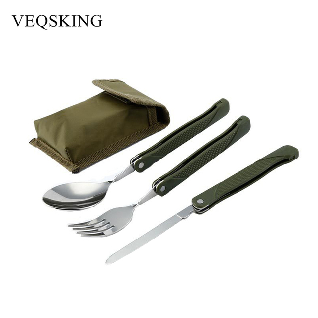 3 Pieces/set Folding Outdoor Tableware Camping Picnic Cutlery Stainless Steel Knife Fork Spoon