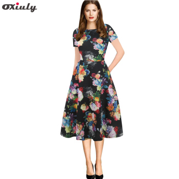 Oxiuly Women Summer Dress Stripe Foral Print Retro Vintage 50s 60s Casual Party Office Robe Rockabilly Dresses Vestidos mujer Платье