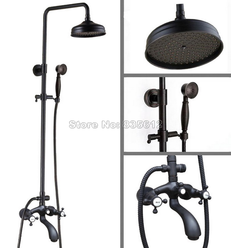 Wall Mounted Bathroom Black Oil Rubbed Bronze Dual Handles Rain Shower Faucet Set With 8 Shower Head Bath Tub Mixer Tap Whg111