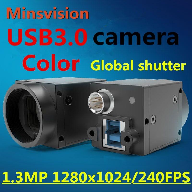 High speed USB3 0 digital camera 1 3MP color CMOS industrial vision camera SDK global shutter