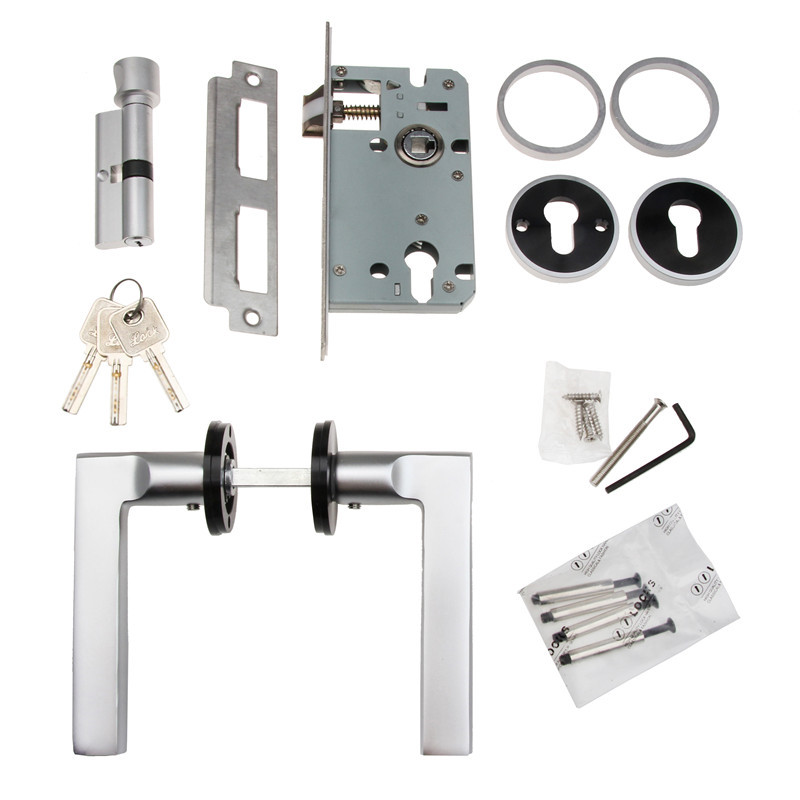 1PC with Accessories Aluminum Black & White Durable Door Handle Lock Cylinder Front Back Lever Latch Home Security with Keys pt auto warehouse ho 2380me fl inside interior inner door handle beige tan housing with chrome lever with power lock hole 2 door coupe driver side