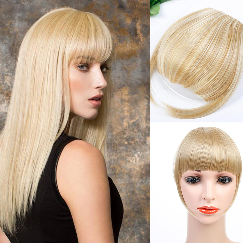 HOUYAN Synthetic Natural Hairpiece Short Straight Front Neat Bangs Clip In Bang Fringe Hair Extensions For Adult Women