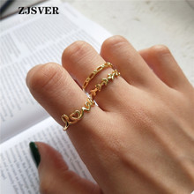 ZJSVER Korean Jewelry 925 Sterling Silver Rings Golden Classic Simple LOVE Shape/Leaf/Hollow Women Ring For Festival Present