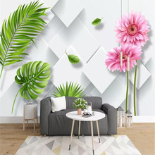 3D small fresh chrysanthemum banana leaf background wall professional production mural photo wallpaper