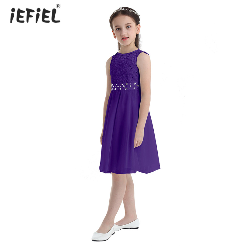 New Sleeveless Princess Girls Dress Sequined Lace Chiffon Party A-Line Kids Dresses for Girls Vestido Infantil Beautiful Clothes Платье
