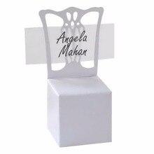 Titular de la tarjeta del lugar de la silla blanca de la promoción y caja del Favor mejor para cajas de dulces y regalos de boda 100 piezas