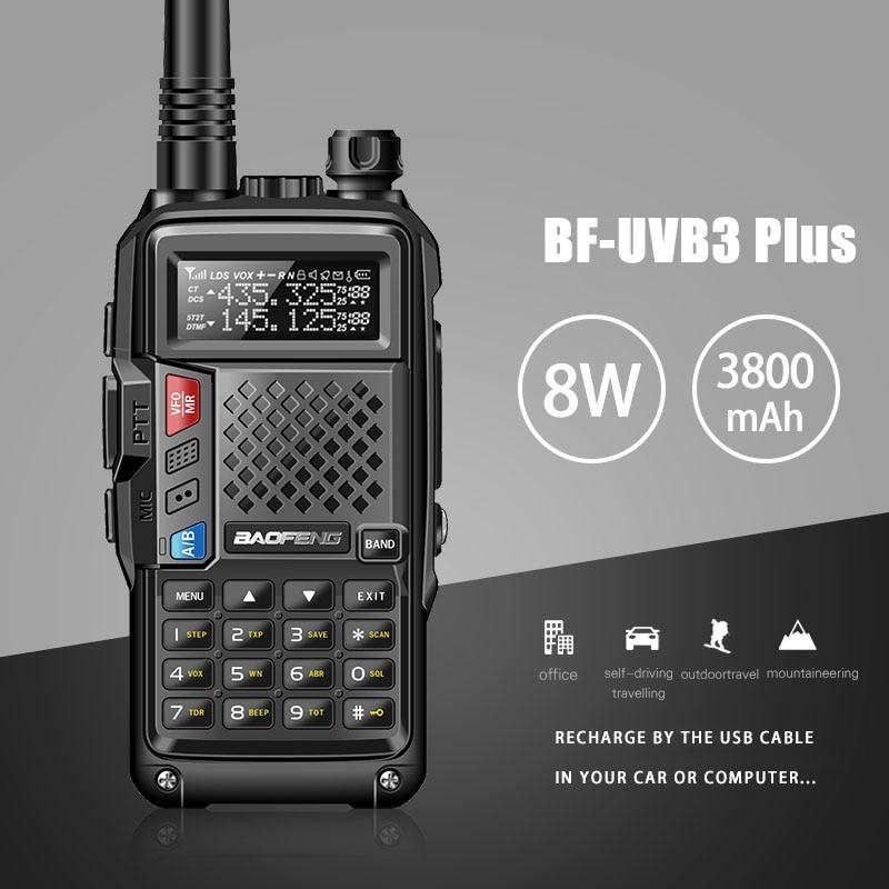 2018 Nouveau BAOFENG BF-UVB3 PLUS 8 W Haute Puissance UHF/VHF Dual Band 10 KM Longue Portée Talkie Walkie 3800 mAh Batterie De Poche Radio