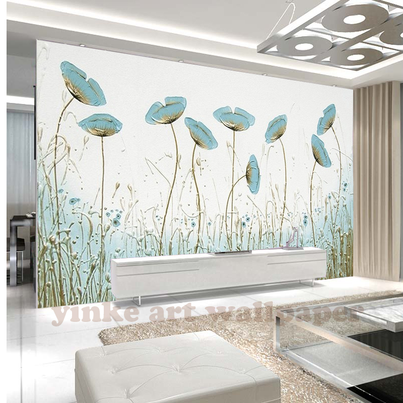 North Europe style Modern 3D Photo Wallpaper mint green flower Wall Papers Home Interior Decor Living Room Lobby Mural Wallpaper interior design
