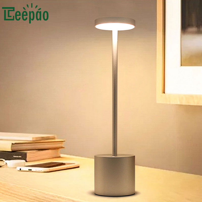 LED Desktop Lamp USB Rechargeable Desk Lamp 360 degree Lighting Seamless Dimming Eye Protection Reading Table Lights for Student