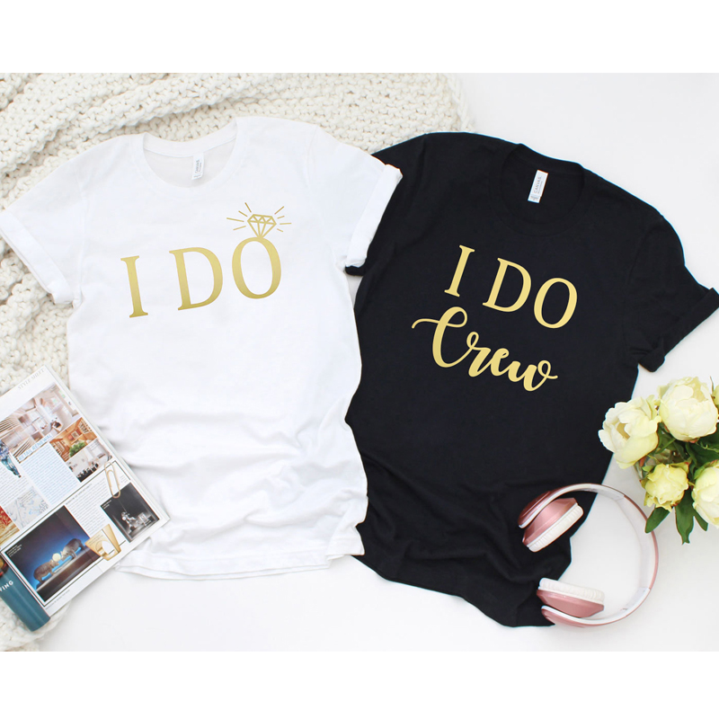 zh Tshirt I Do and I Do Crew T-shirt Lady Romantic Bridal Party Tee Top New Trendy Graphic Bridesmaids Bride Wedding image