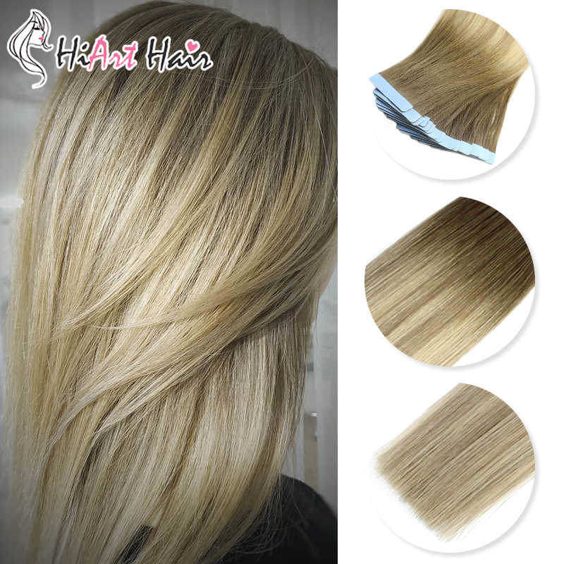"HiArt 2.5g/pc Tape In Human Hair Extensions 100% Real Human Remy Hair Balayage Color Tape Hair Double Drawn Hair 18""20""22"""