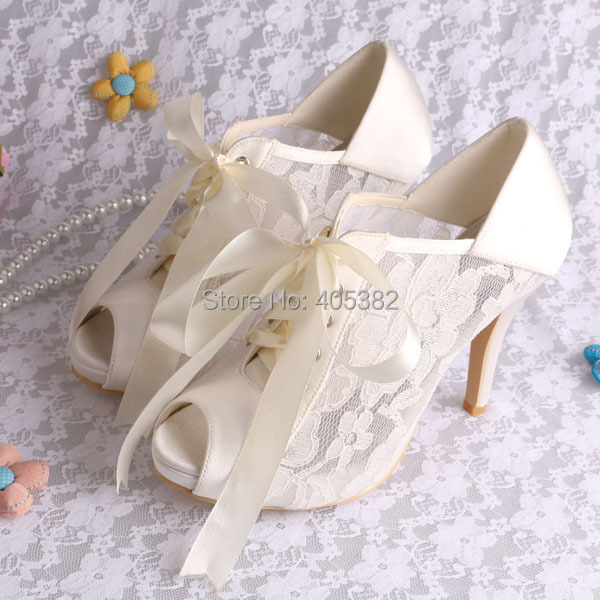 ФОТО Wedopus Ivory Lace Ankle Boots Lace-up High Heeled Bride Shoes Peep Toe Size 8