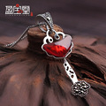925 Sterling silver Necklace Garnet inlaid Natural semi-precious stones red key Pendant micro retro clavicle chain for girls