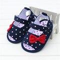 2017 nova baby girl sandals shoes bowknot bolinhas azul denim calças de brim arco verão baby girl shoes infantil sandálias sandalia infantil