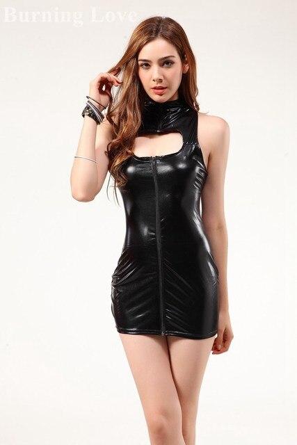 Kim K Black Female Porn - Sexy Club Dress 2015 Kim Kardashian Black Leather Dress Evening Sexy Porn  Party Dress Rockabilly PVC