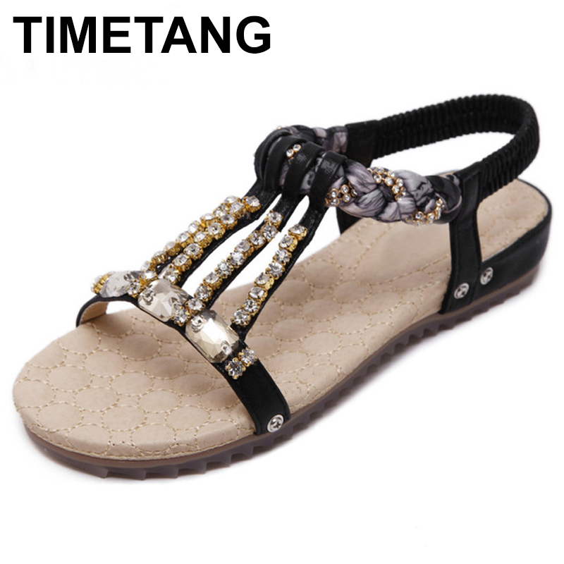 TIMETANG Flat Women Sandals 2018 New Fashion Summer Shoes Woman Sweet Crystal Slip-On Breathable Soft Women Shoes C072 2018 women fashion diamond casual shoes summer slip on breathable mesh shoes woman comfort soft white sole footwear crystal flat