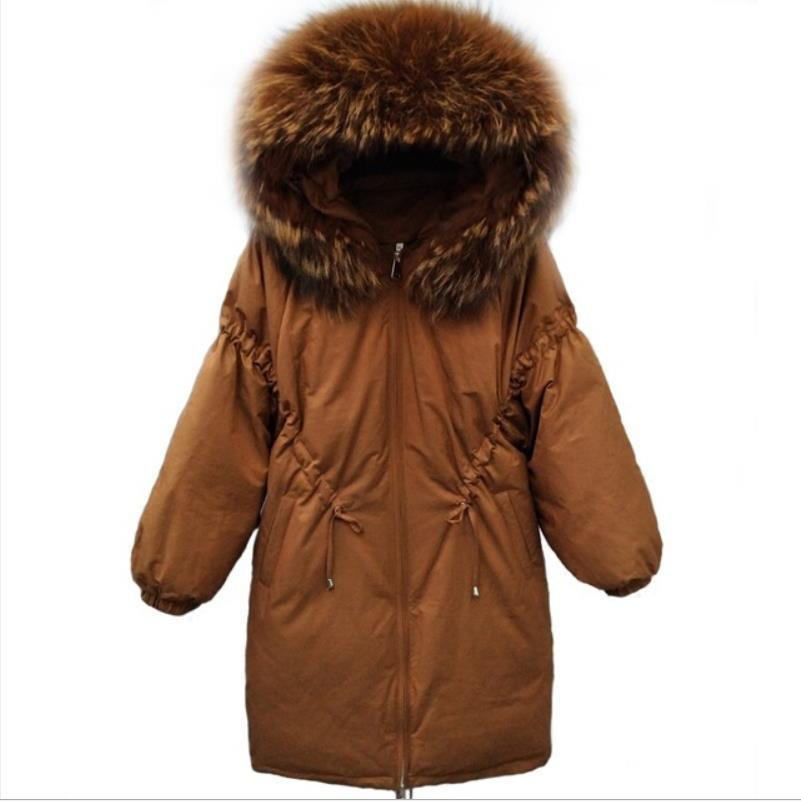 Winter new fashion brand thicken fur hooded   down     coats   female long White duck   down   Adjustable Waist slim   down   jackets g1429