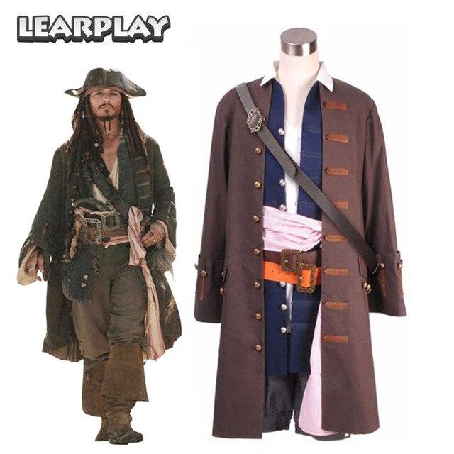 de6ab8db3e94a Piratas do Caribe Capitão Jack Sparrow Cosplay Traje Jaqueta Colete Camisa  Calças Cinto Natal Halloween Outfit