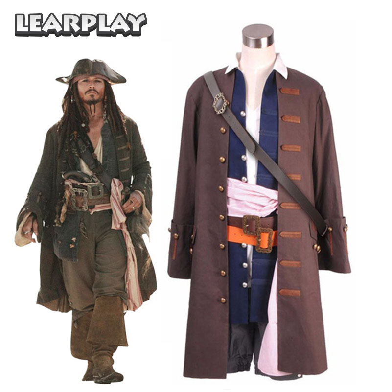 Pirates des Caraïbes Capitaine Jack Sparrow Cosplay Costume Veste Gilet  Ceinture Chemise Pantalon Halloween De Noël Outfit Ensemble Complet 831f62e22d0