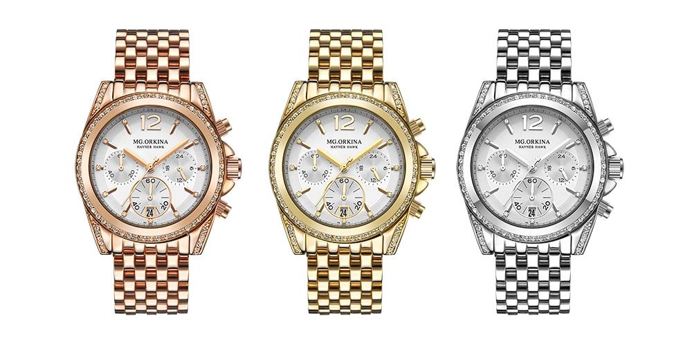 Image 5 - ORKINA Quartz Male Clock Luxury Crystal Wrist Watch Men Rose Gold  Stainless Steel 3ATM Water Resistant Herren ArmbanduhrQuartz Watches