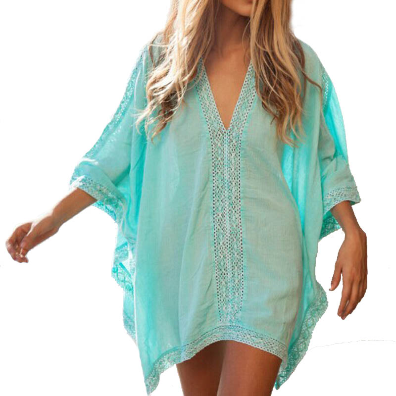 f538119b0503b V neck Cotton Beach Cover Ups 2019 Tunic Sarong Bathing Suit Coverups  Womens Bikini Cover Up Women Swimsuit Beachwear-in Cover-Ups from Sports ...
