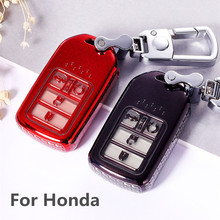 For  Honda Accord Civic 2017 CR-V Fit HR-V Odyssey Pilot Ridgeline  Car Key Case Soft TPU Auto Remote Fob Shell Cover Keychain
