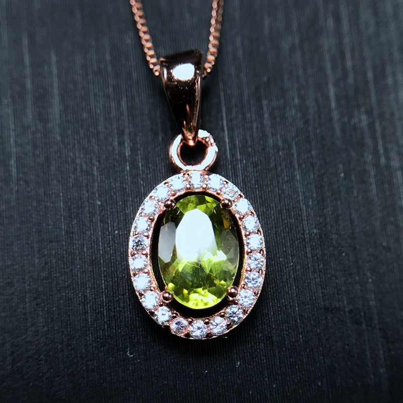 [MeiBaPJ]Real Natural Peridot Pendant Necklace with Certificate 925 Pure Silver Fine Jewelry for Women