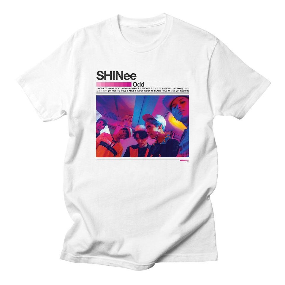 Shinee Kpop Women Tshirts For Summer Korean K-pop Fashion Streetwear Harajuku Casual Shinee White T Shirt Women Cotton Plus Size