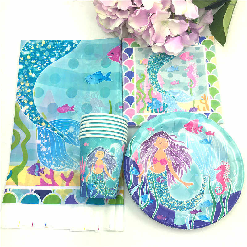 2018 little Mermaid theme 10 paper cup+10 7inch plate+10 napkin+1 tablecloth for kids birthday party supply Tableset decoration