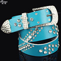 Women's women's genuine leather pin buckle strap with diamond belt Women diamond decoration cowhide fashion decoration