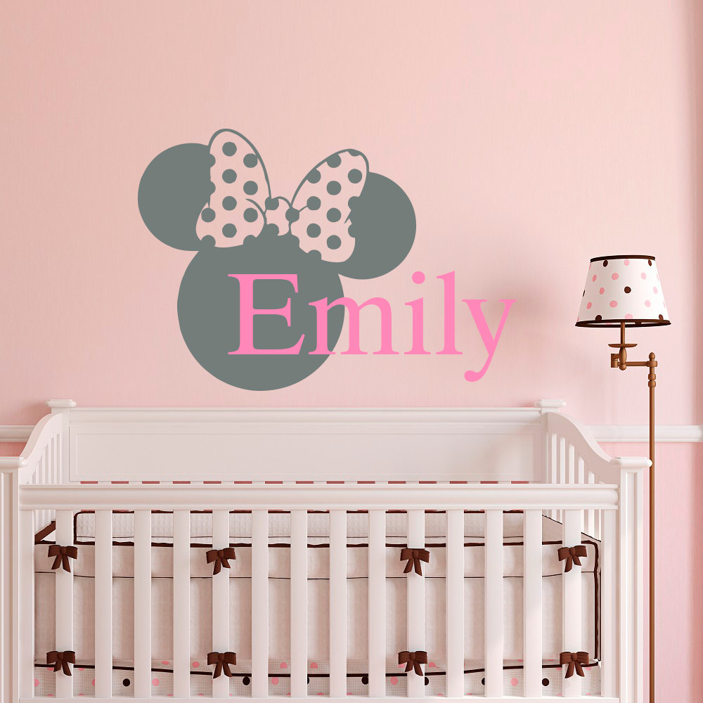 Name Wall Decal Minnie Mouse Head Personalized Baby Girl Stickers Nursery Bedding Room Decoration Art