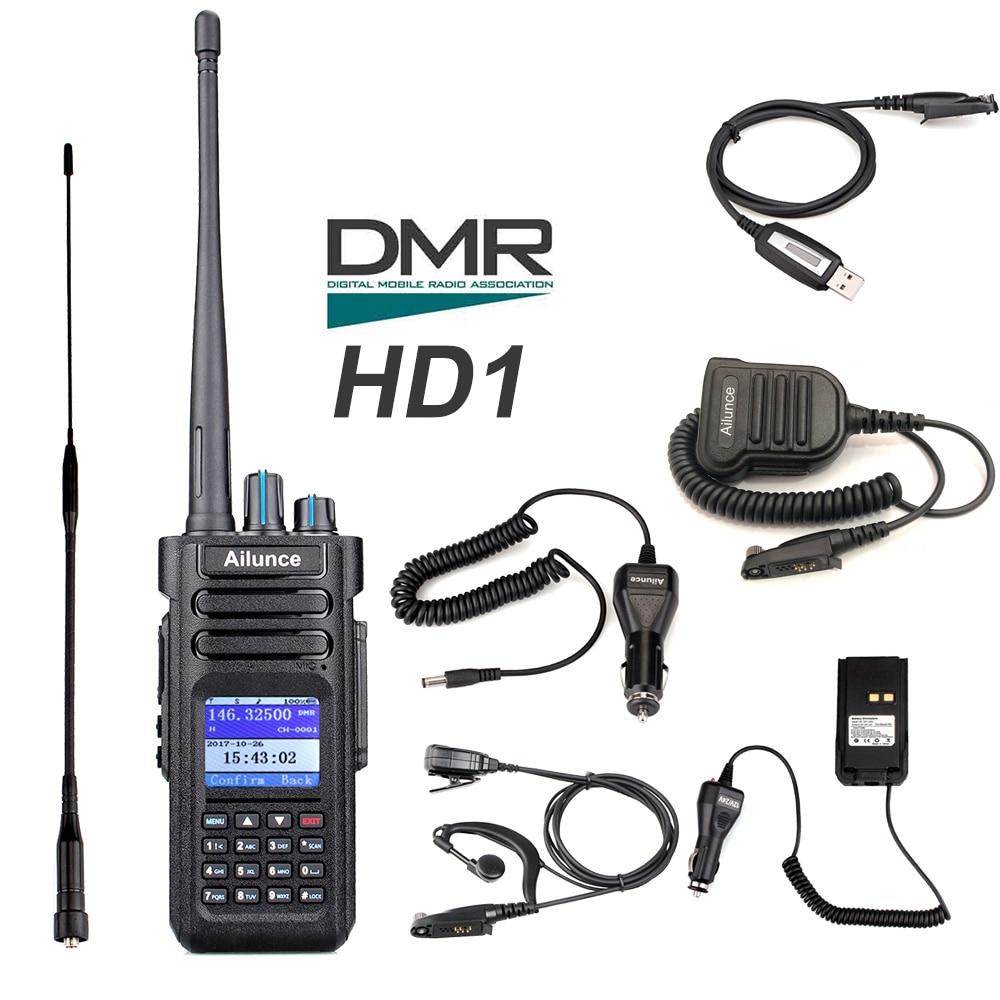 Retevis Ailunce HD1 Double Bande DMR Numérique Talkie Walkie DCDM TDMA VHF UHF Ham Radio Hf Émetteur-Récepteur Radio Amador + accessoires