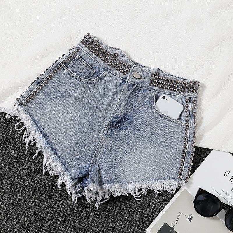 New Short Mujer Light Blue/ White Female High Waist Washed Denim Shorts Rivet Wide Leg Womens Loose Irregular Jeans Shorts D321