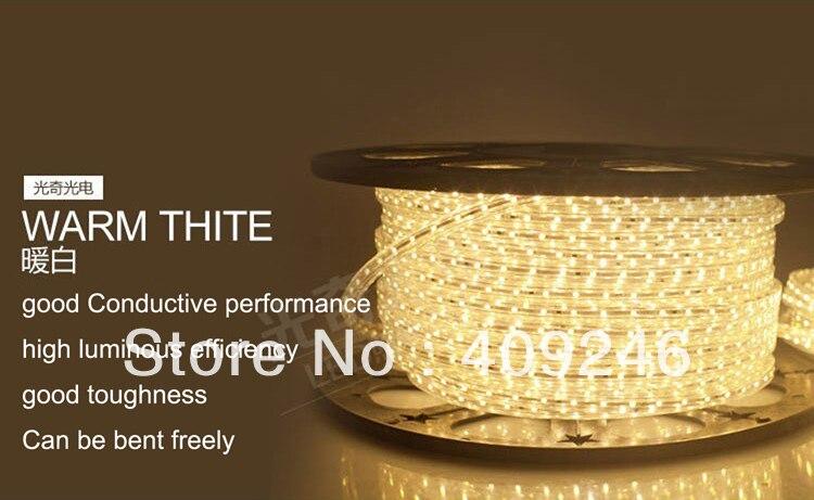 DHLFedEX High voltage 3528 LED strip ribbon tape light 220V 240V warm white led light led lamp 3528 chip+5pcs Plugs