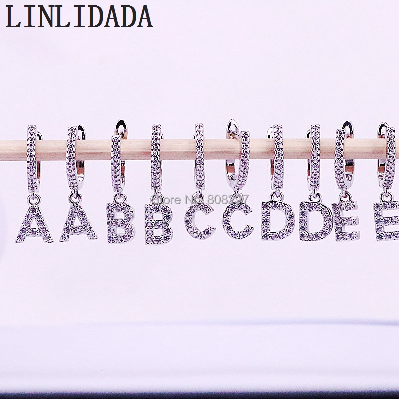 10 Paar Neue Ankunft Trendy Silber Farbe Micro Gepflasterte Zirkonia 26 Initial Buchstaben Charme Baumeln Ohrringe
