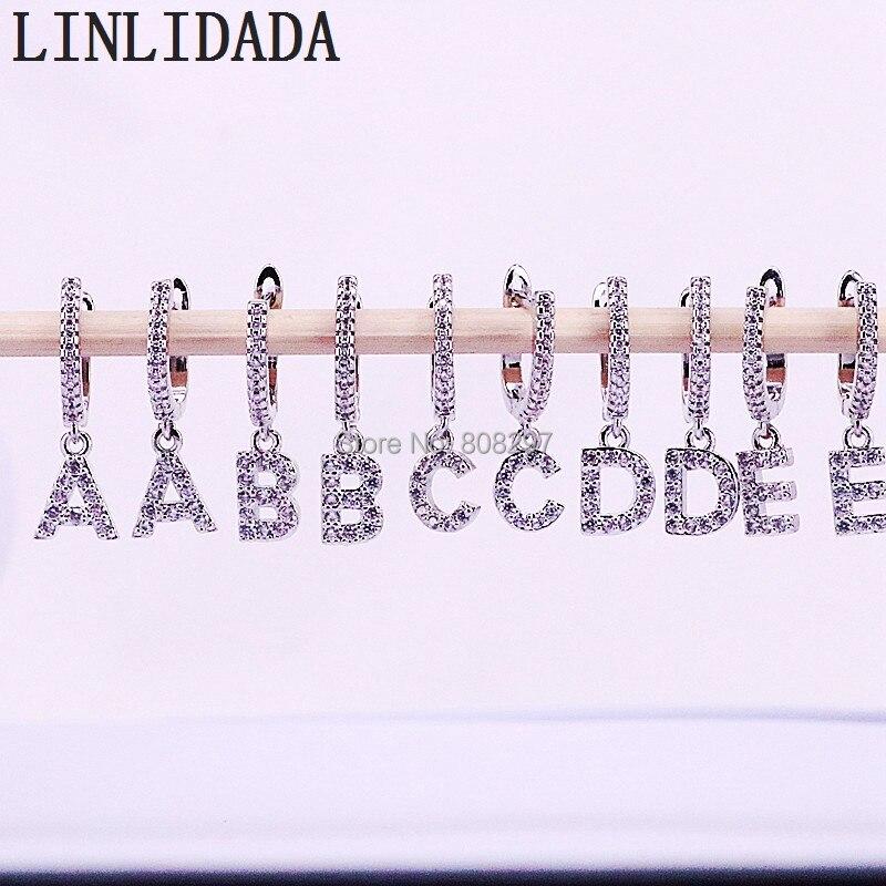 10 paires nouveauté à la mode couleur argent Micro pavé cubique zircone 26 lettres initiales charme Dangle boucles d'oreilles-in Boucles d'oreilles pendantes from Bijoux et Accessoires    1