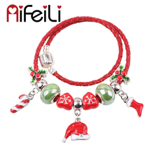 AIFEILI Christmas Hat Christmas Stockings Candy Cane Snowflake Beads DIY Suitable for Women Bracelet Jewelry Charm