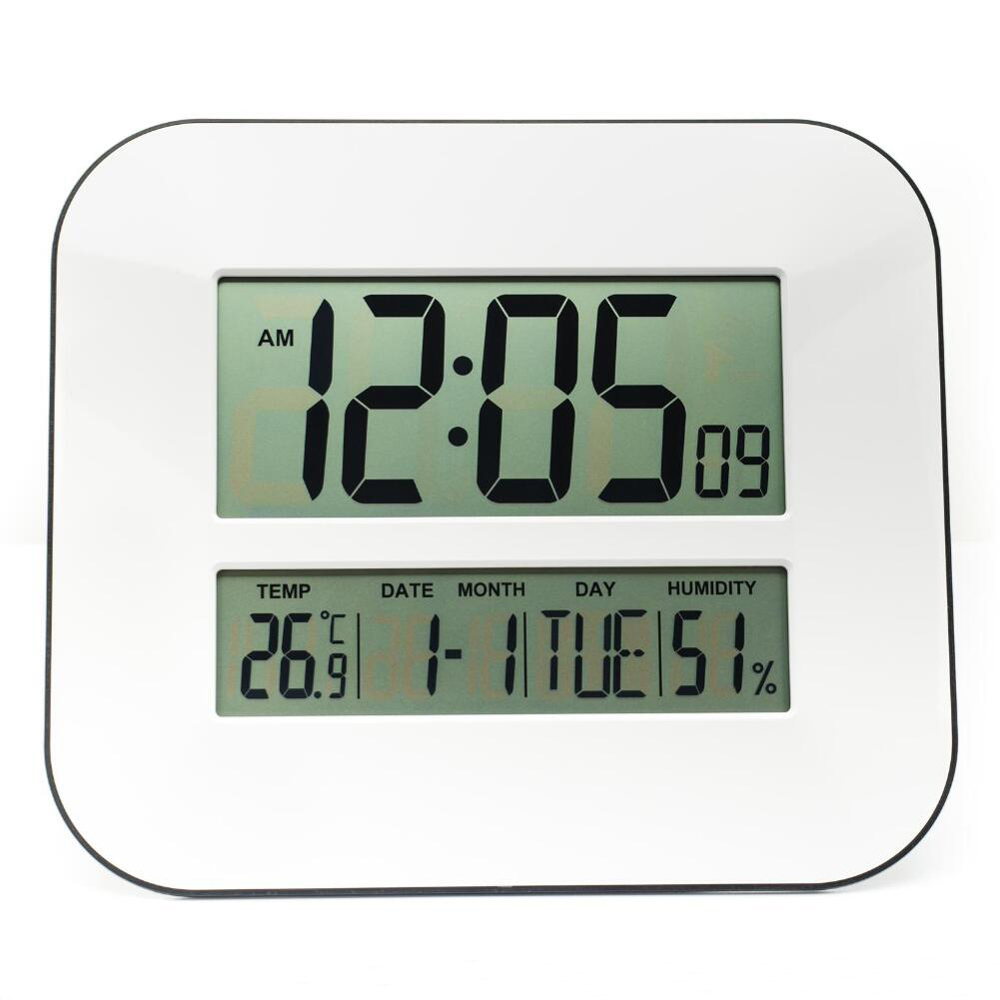 DCF Radio Controlled Time Digital RCC School Wall Clock with Temperature Thermometer Humidity Hygrometer Calendar Alarm