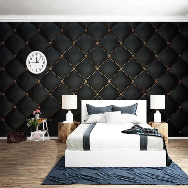 Custom Muurschilderingen 3D Zwart Luxe Zachte Tas Lederen Foto Behang Voor Woonkamer Slaapkamer TV Achtergrond Muur Home Decor muurschildering