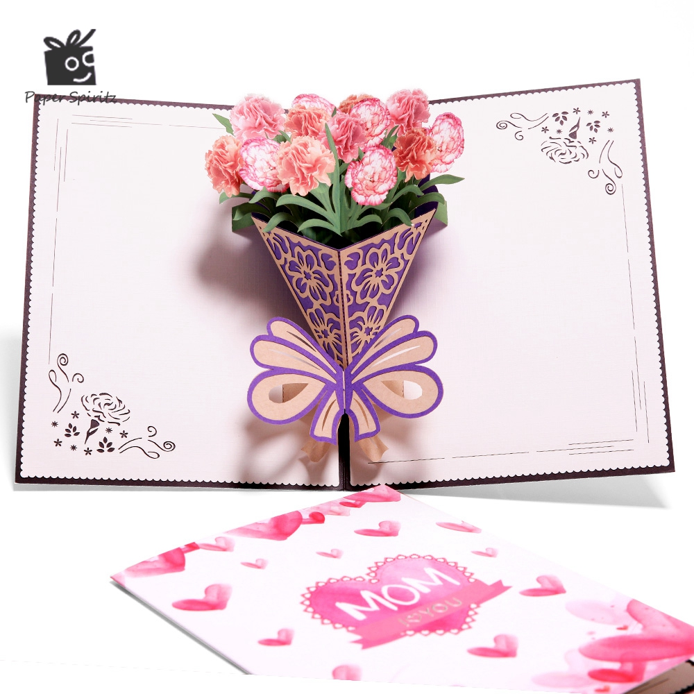 Mothers Day Gift Card 3D Pop Up Card Carnation Flower Card with Envelope Handemade Gift to Mom 10pcs/lot wholesale
