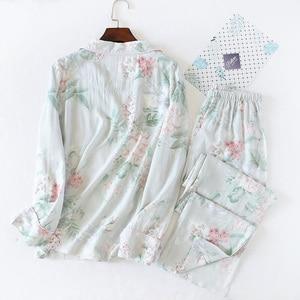 Image 4 - 2020 Spring New Ladies Pajamas Set Floral Printed Soft Sleepwear Cotton Simple Style Women Long Sleeve+Pants 2Piece Set Homewear