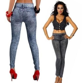2017 Spring Autumn New Fashion Skinny Slim Thin High Elastic Waist Washed Jeans leggings Pencil Pants Denim Leggings For Women 2